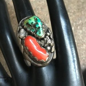 Jewelry - Vintage OldPawn S.S. TurquoiseCoralRing. Size 11.5